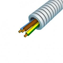 Voorbedrade buis Flexibelebuis / Preflex 16mm met VD draad 3x2.5mm² BR BL GG + 1x1.5mm² ZW Rol 100m